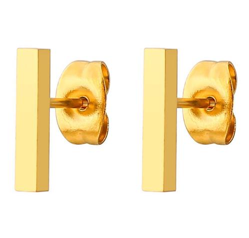 Boucles d'oreille acier inoxydable ''Rectangle or jaune''
