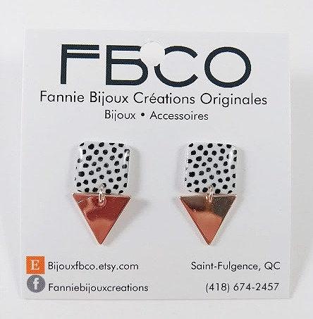 Boucles d'oreille FBCO ''Lustra'' Motif de pois noir sur fond blanc