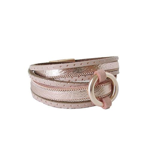 Bracelet Caracol, Cuir véritable, double tour, Or rose, 3092-PNK