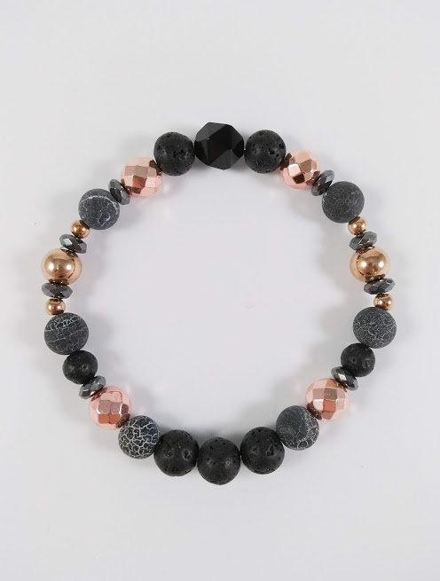 Bracelet #32 Agate de feu, Hématite et pierre volcanique