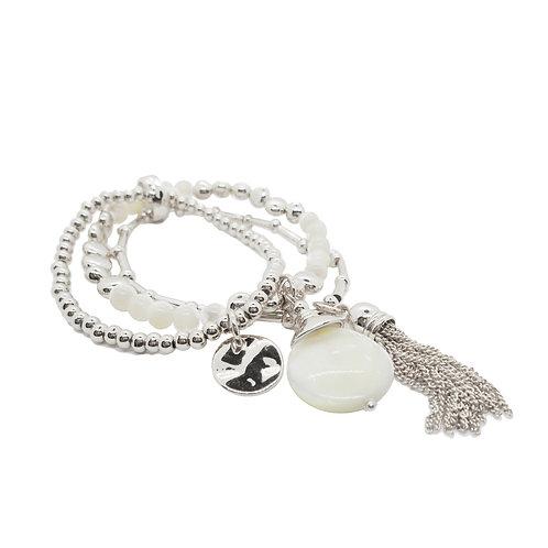 Bracelet Caracol, billes, Argent et nacre #3179-SLV