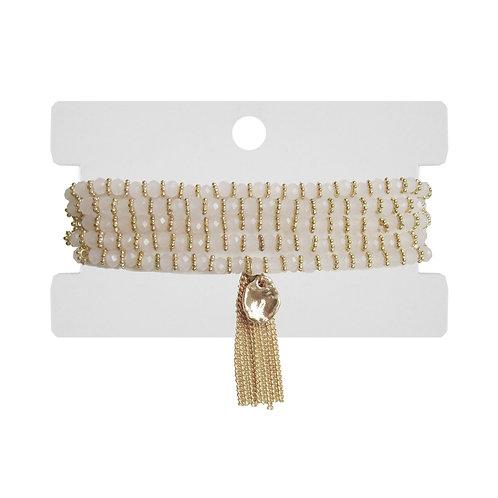 Bracelet ou Collier (2 en 1) Caracol, billes crèmes, Or, 3132-BLH