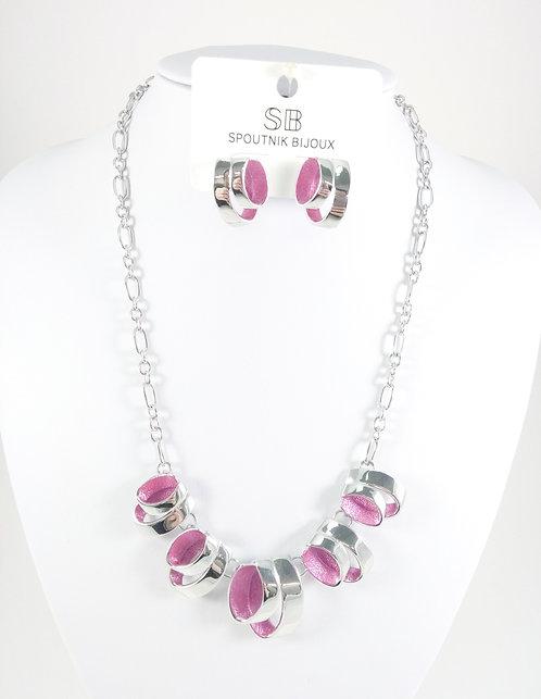 Ensemble collier et boucles d'oreille Spoutnik, Ruban métal argent, Rose fuschia