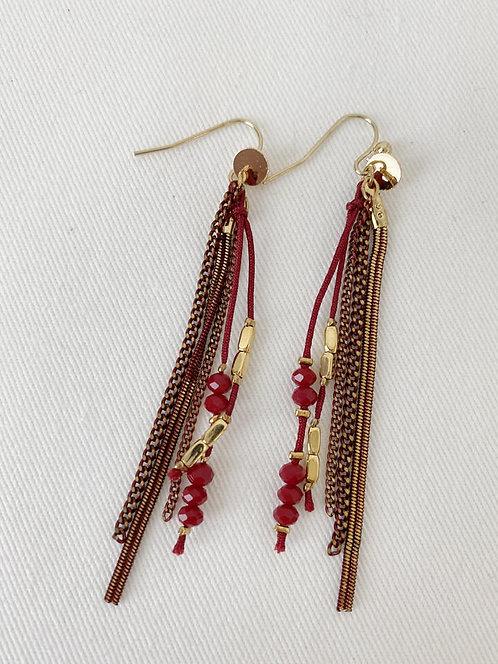 Boucles d'oreille Caracol, Chaînes colorées et perles, Rouge et or, 2366-RED