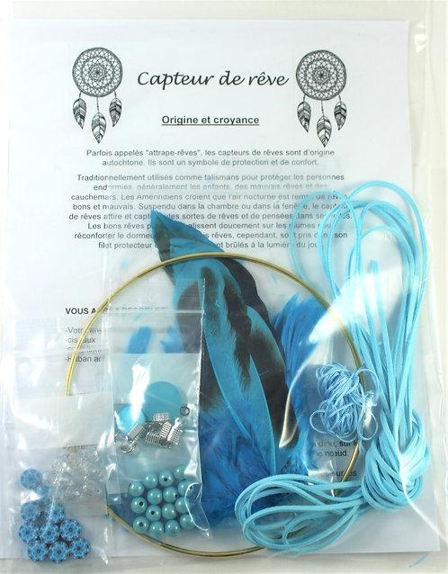 Trousse de fabrication de capteur de rêve: Bleu ciel