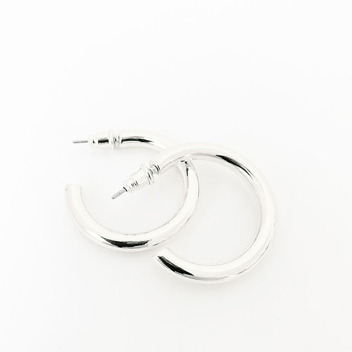 Boucles d'oreille Caracol, Anneau, Argent lustré, 2439-SLV