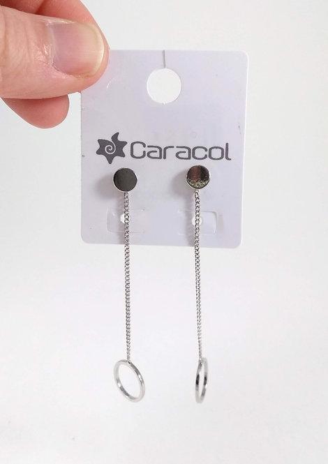 Boucles d'oreille Caracol, 2 en 1, cercle Argent
