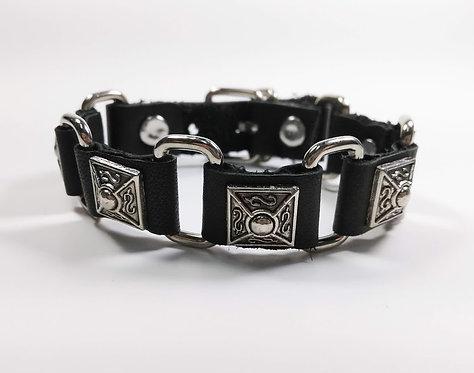 Bracelet pour Homme, cuir noir, carré de métal avec maille