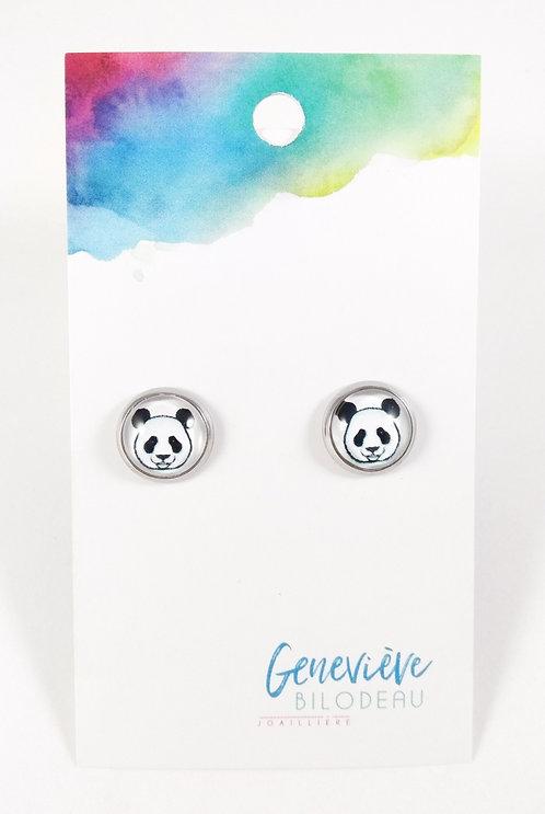 Boucles d'oreille GB Joaillière, 10mm, Panda, Acier inoxydable