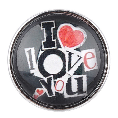 Bouton pression (snap) Nomaad Interchangeable, I love you (noir/rouge)