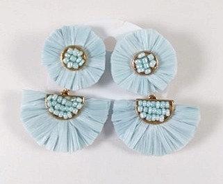 Boucles d'oreille Spoutnik:  Raphia bleu
