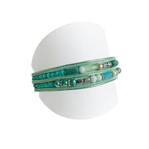 Bracelet Caracol, multi-chaîne et bille, Turquoise #3311-AQU