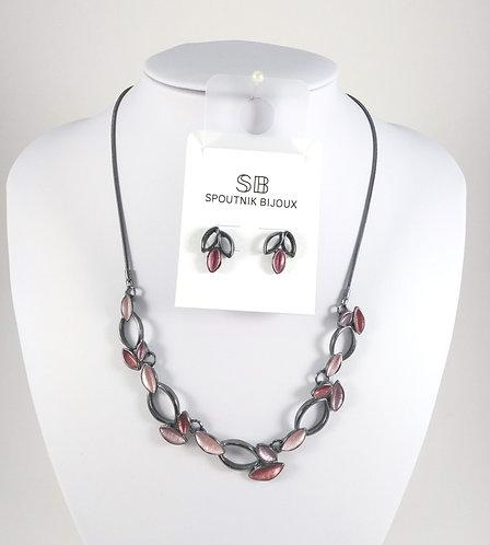 Ensemble collier et boucles d'oreille Spoutnik, Feuilles bourgogne-rose