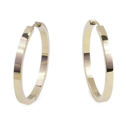 Boucles oreilles anneaux unies 35mm, Acier inoxydable, Or
