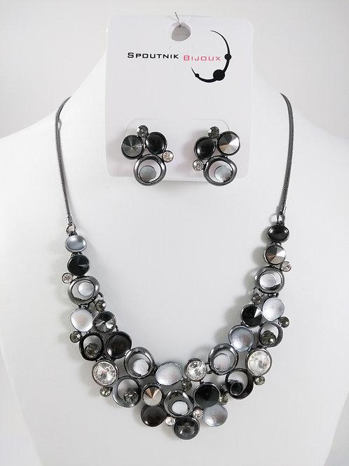Ensemble collier et boucles d'oreille Spoutnik, Cercles Cristaux noirs et clairs