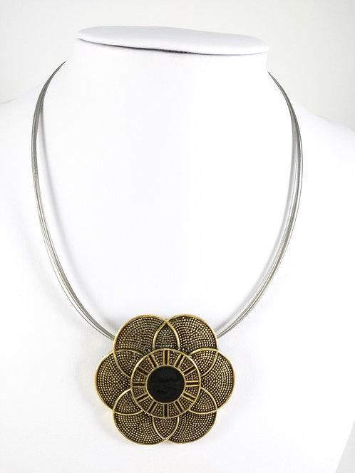 Collier Caracol, fleur or et noir
