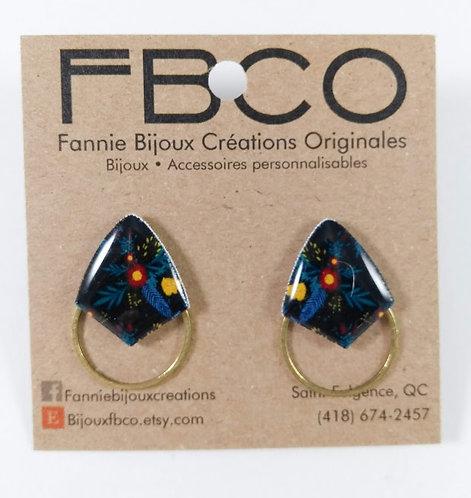 Boucles d'oreille FBCO ''Axies'' Fleurs bleu, noir, bourgogne et jaune