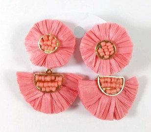 Boucles d'oreille Spoutnik:  Raphia rose-corail