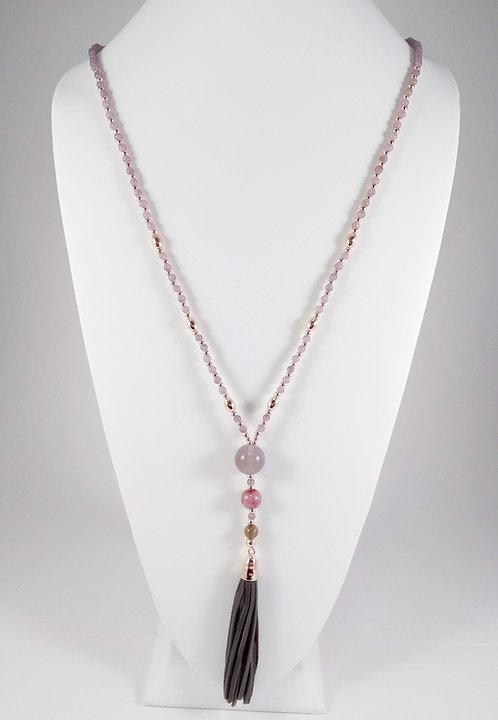 Collier long Caracol, Perle Rose-lilas et or rose, cuirette gris