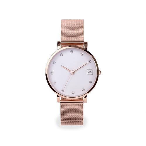 Petite montre pour femme, pierre, or rose