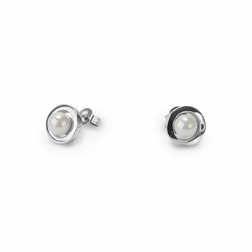 Boucles d'oreilles Mia, saturne perle, Acier inoxydable, Argenté