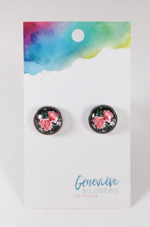 Boucles d'oreille GB Joaillière, 12mm, Rose, Fond noir