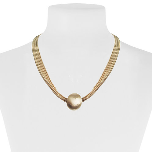 Collier Caracol, Multi-chaîne et boule métallique, Or, 1357-GLD
