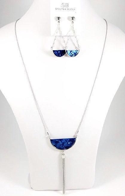 Ensemble collier long et boucles d'oreille Spoutnik, Demi-lune bleu