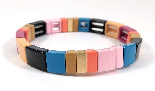 Bracelet élastique Spoutnik, Petit rectangle multicolore