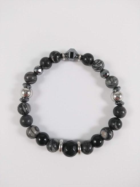 Bracelet #3 Pierre de soie noire, Onyx noir et Hématite