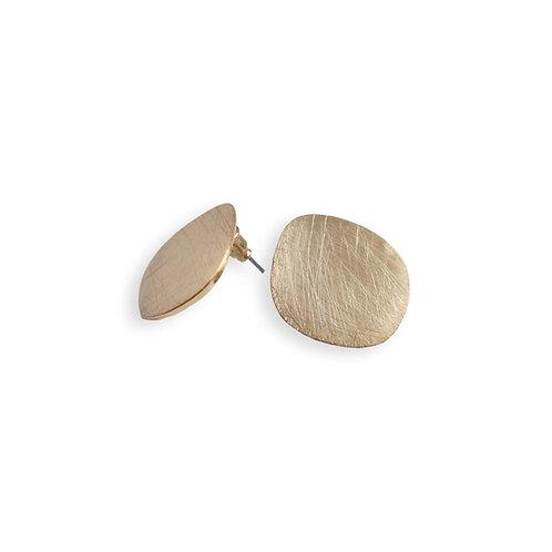 Boucles d'oreille Caracol, Métal rayuré, Or, 2346-GLD