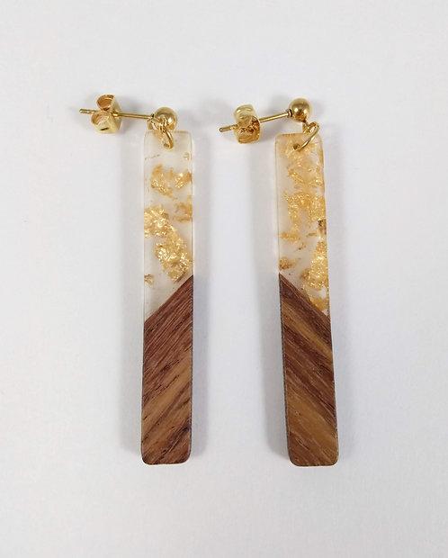 Boucles d'oreille GB Joaillière, Bois et résine, Transparent avec morceau d'or