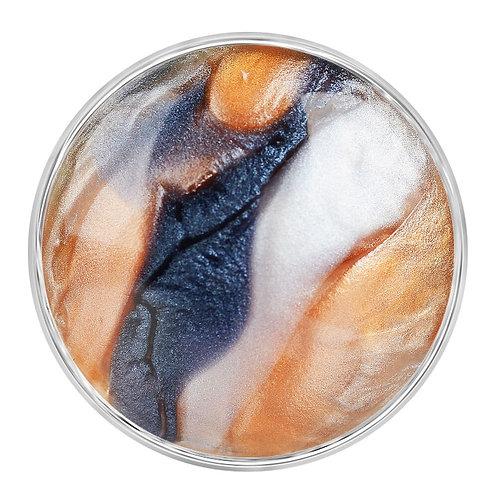 Bouton pression (snap) Nomaad Interchangeable, Résine marbré orange et gris