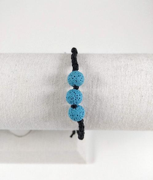 Bracelet ajustable, Pierre volcanique diffuseur d'huiles essentielles, Bleu ciel