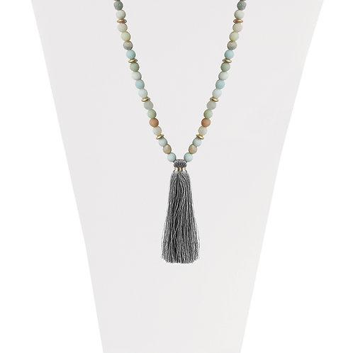 Collier long Caracol Pompon soyeux et pierre naturelle, Or #1394-TRQ-G