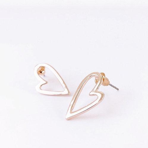 Boucles d'oreille Caracol, Coeur sur tige, Or rose lustré, 2345-RGL