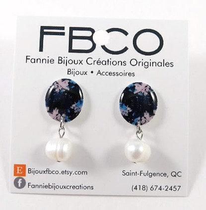 Boucles d'oreille FBCO ''Pauline: fleur bleu et noir''
