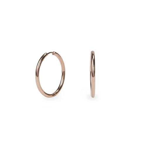 Boucles oreilles anneaux unies 20mm, Acier inoxydable, Or rose