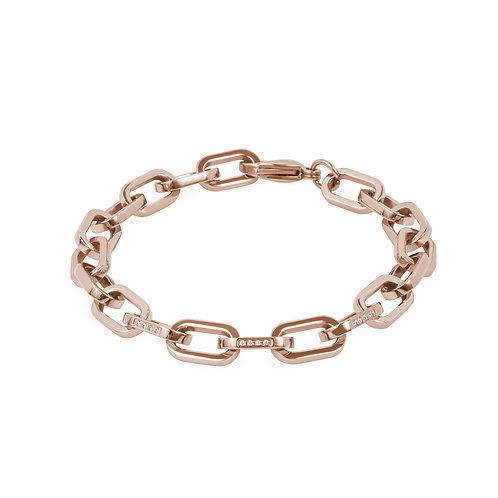 Bracelet Mia, larges mailles avec pierres, or rose, acier inoxydable