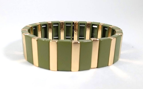Bracelet élastique Spoutnik, Rectangle kaki et or