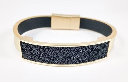 Bracelet Spoutnik cuir avec rectangle or remplis de cristaux noirs