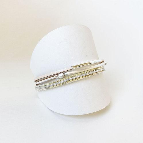 Bracelet Caracol, Cuir véritable, Tube, Beige, 3171-BGE