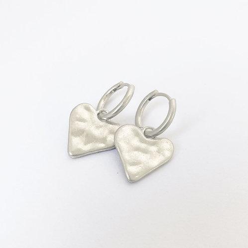 Boucles d'oreille transformable Caracol, Coeur sur anneaux, Argent mat, 2447-SLV