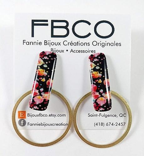 Boucles d'oreille FBCO ''Mila: noir, tâche de couleur rose et or''