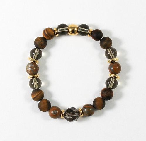 Bracelet en pierre naturelle et acier inoxydable, Collection Safari