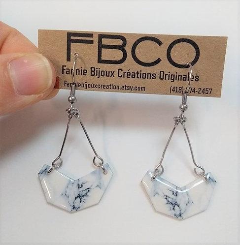 Boucles d'oreille FBCO ''Demi lune'' Marbre