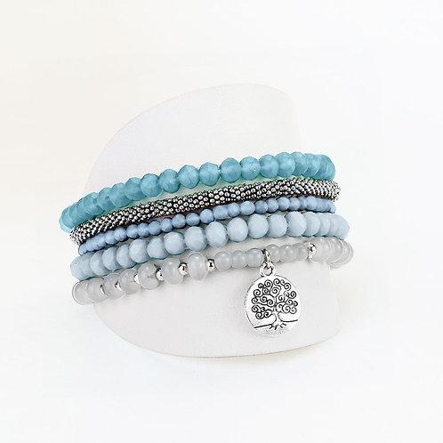 Ensemble de 5 bracelets élastiques Caracol, billes, Turquoise, 3116-TRQ