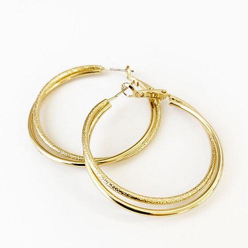 Boucles d'oreille Caracol, Anneaux double de métal, Or lustré, 2339-GLD