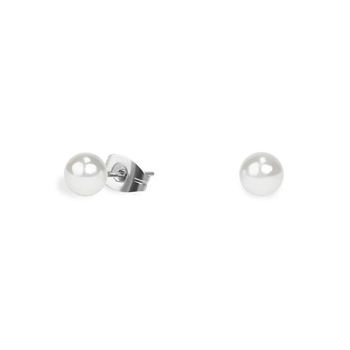 Boucles oreilles perle 5 mm , Acier inoxydable, Argenté