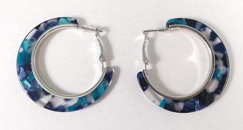 Boucles d'oreille anneau Spoutnik, bleu et argent